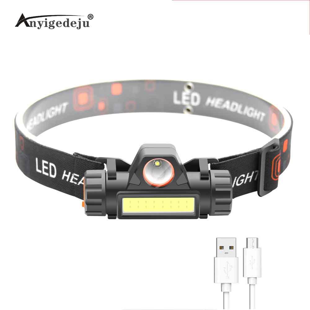 Atenuación continua mini faro xpe faro LED COB brillo ajustable usb recargable Luz Portátil pesca