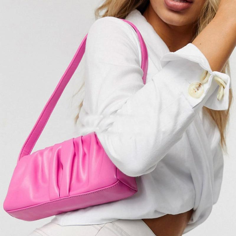 Bolso de hombro Vintage para mujer 2020, bolsos de lujo, bolso de mano de piel suave de nube, Bolso pequeño de hombro para mujer, Bolsas de mujer