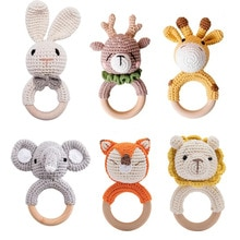 Baby Crochet Animal Rattle Wooden Toys for Children BPA Free Wood Rattle Baby Teether Stroller Game