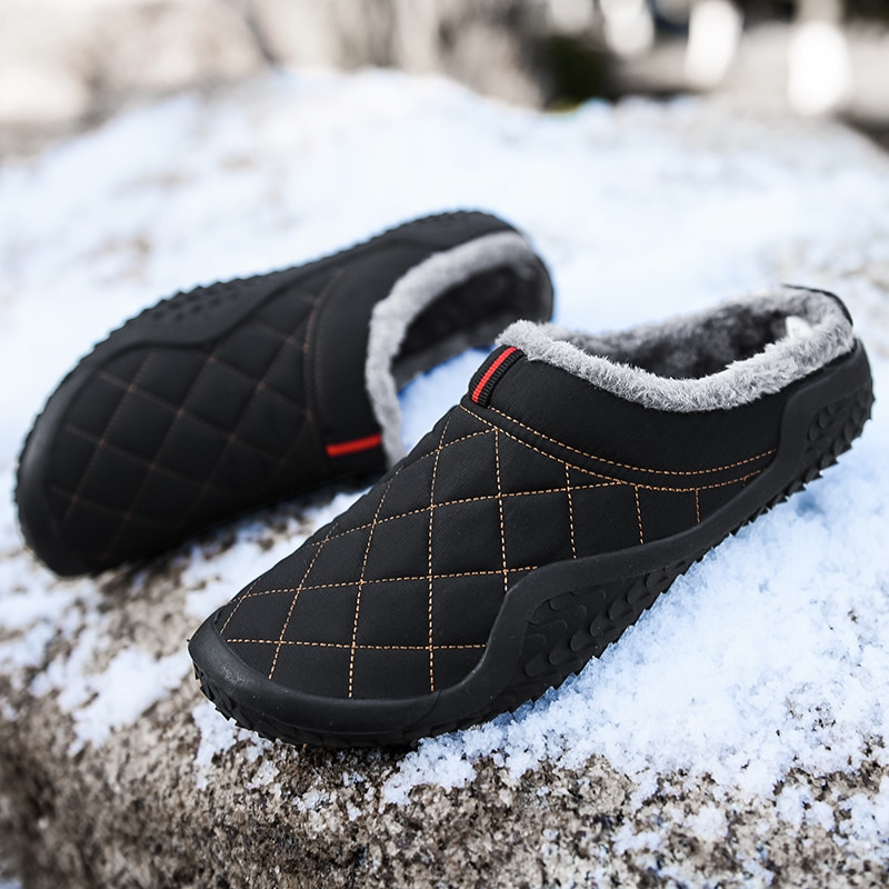 Pantoufles en coton pour hommes, chaussures d'extérieur, imperméables et résistantes au froid, décontractées, en peluche, grande taille 39-48