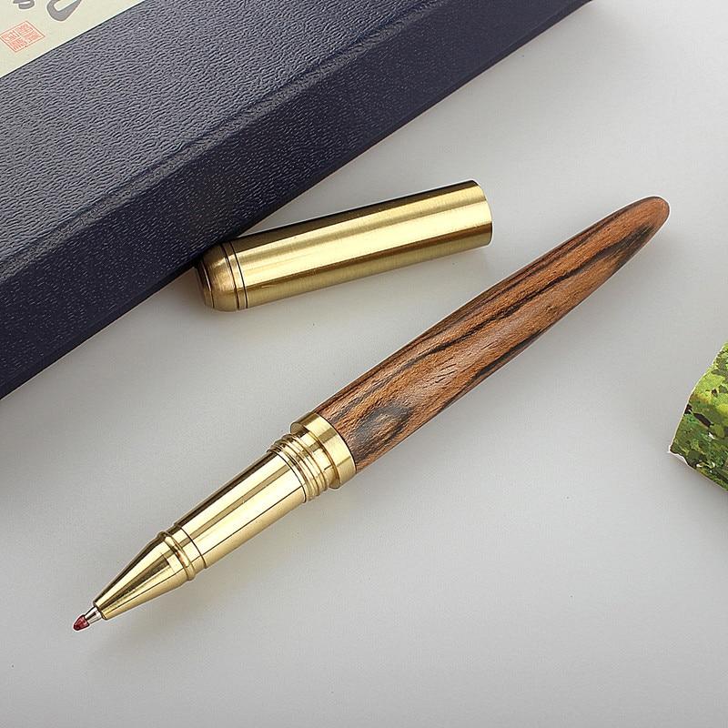Высококачественная Черная роскошная деревянная шариковая ручка, деловые подарки, шариковая ручка для письма, офисные и школьные принадлеж...