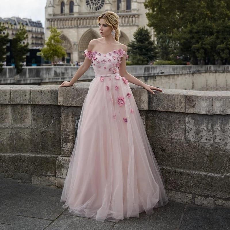 Excellent Pink Long Tulle V Neck Prom Dress  Flowers Pearls Formal Evening Party Gowns Vestidos De Festa недорого