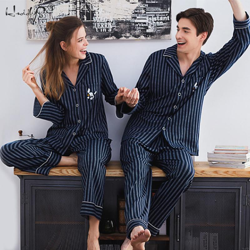 عالية الجودة عشاق منامة ملابس خاصة زوجين منامة 100% القطن طويل الأكمام بيجامة مجموعات للرجال والنساء منامة المنزل دعوى