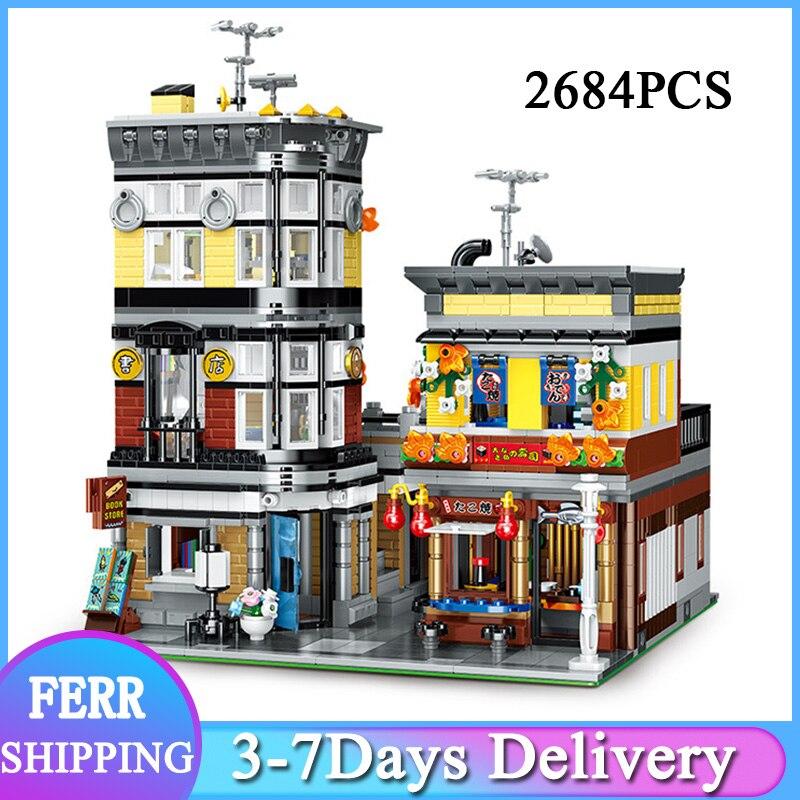MOYU MY82002 MOC Creative City Street View 2684 قطعة اليابانية مطعم السوشي بار متجر اللبنات الطوب مجموعة اللعب