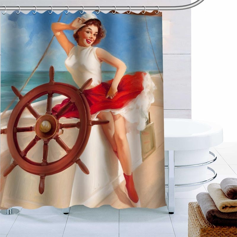 Moderno Pin Up chica Cortina de ducha Palm decoración impermeable cortina para el baño con tejido de poliéster 180X180cm respetuoso del medio ambiente, cortina de baño de