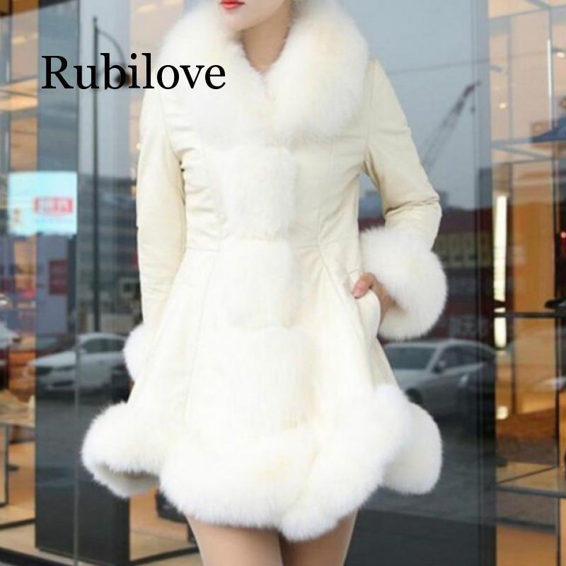Женская зимняя куртка Rubilove, куртка из искусственной кожи с воротником из искусственного лисьего меха, куртки больших размеров 6XL