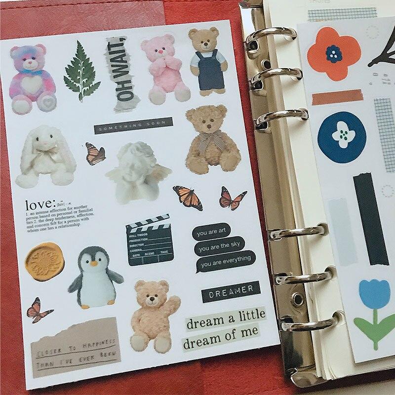 Korean Dry Flower Sample Toy Bear Girl PVC Stickers DIY Creative Junk Journal Planner Craft Diary Sticker