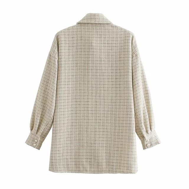 ZXQJ Tweed Women Vintage Oversize Plaid Shirts 2021 Spring-Autumn Chic Ladies Streetwear Loose Shirt Elegant Female Outfit Girls 6