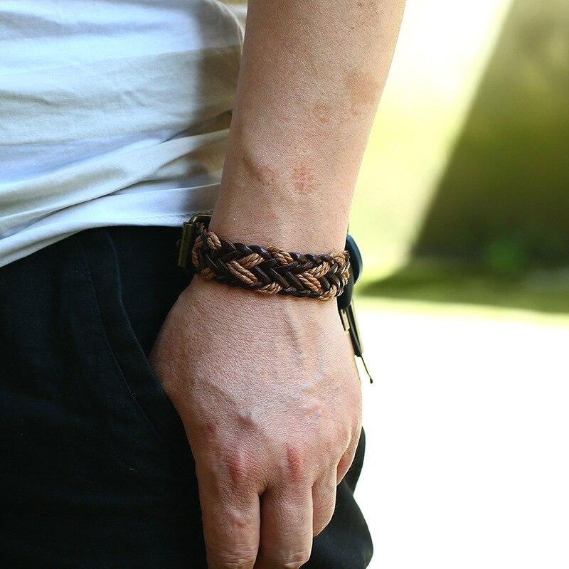 Armbänder & Armreifen Männer Echtes Leder Armbänder Seil Leder Hand Weben Armband Armband Freund Freundin Geschenk