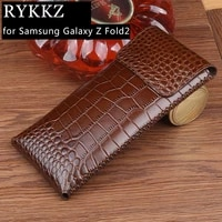 luxury genuine leather case for samsung galaxy z fold 2 cases hold phone book cover bags for galaxy z flip