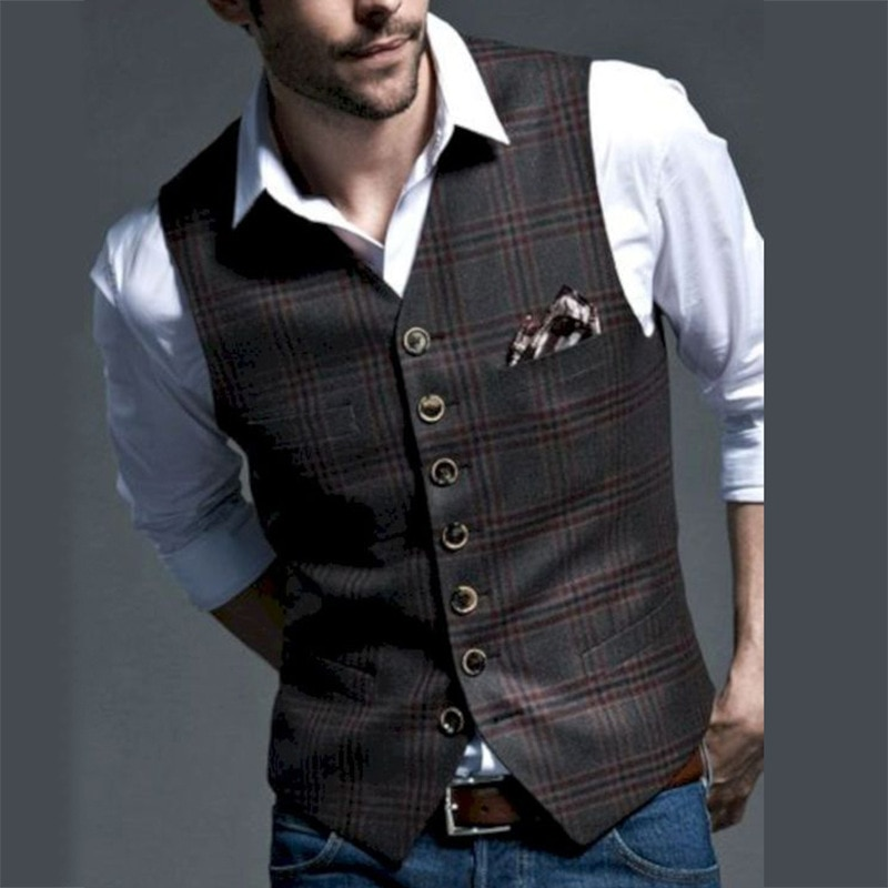 British style Mens Casual Tweed suit Vest Slim Fit Notch Lapel custom made Waistcoat For Wedding Groomsmen Leisure Business