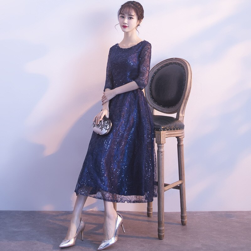 Vestidos de Noche de encaje de lentejuelas Qi Pao mujeres Vestido tradicional chino Cheongsam moderno dama de honor Qipao promoción China Robe