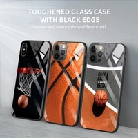 tempered glass phone case for iphone 12 11 pro max shell for iphone xs max xr xs 7 8 plus 11 pro basketball basket