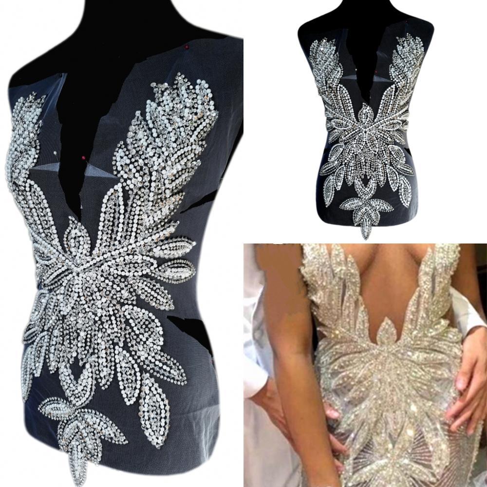 Feito sob Encomenda Costurar em Strass para o Baile de Formatura Vestido de Casamento Apliques e Remendos Prata Desfile Banquete Trajes Decoração Mão 35x56cm