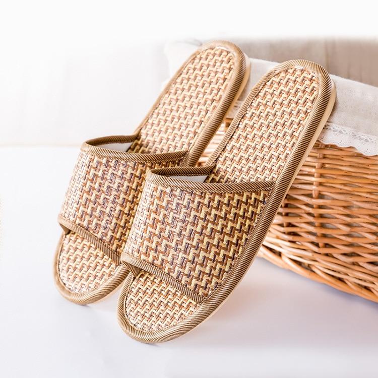 Japoneses nuevos simples ratán hierba pareja en casa zapatilla de madera suelo casa Interior paja Mat zapatilla