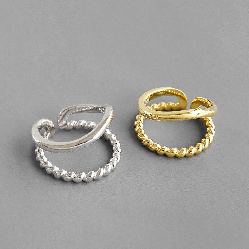 1 pièce 100% authentique 925 argent sterling torsadé & brillant doré/blanc ouvert double rangées/couches lignes anneaux ajuster TLJ969
