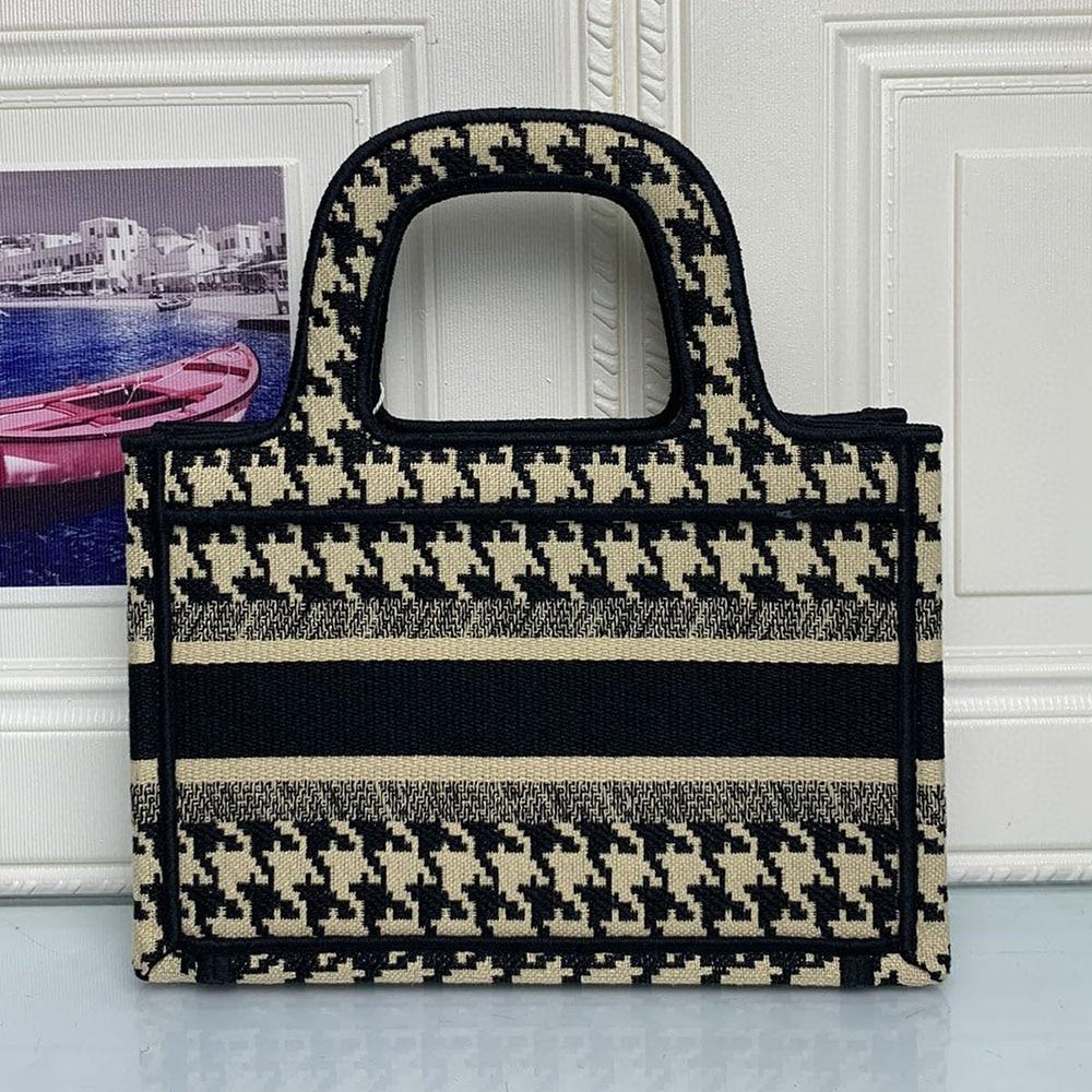 Free Shipping High Quality Mini BOOK TOTE Houndstooth Embroidered Handbag Female Clutch Bag Oblique Canvas Bag Velvet 3A Quality