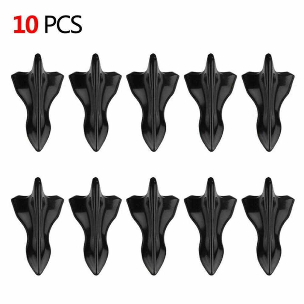 10 unidades de difusores de aleta de tiburón, generador de vórtice, alas de aleta de tiburón negro para parabrisas de coche, alerón de techo, parachoques, alas de aleta de tiburón