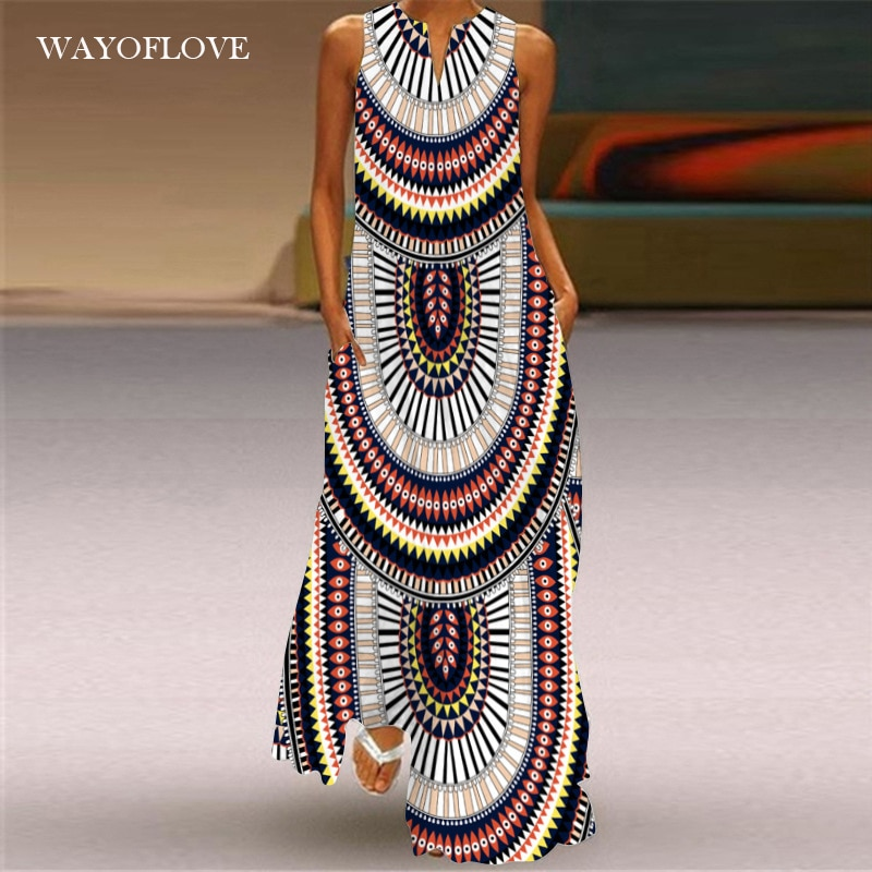 WAYOFLOVE Ethnic Style Stripe Print Dress 2021 Casual Plus Size Long Dresses Summer Woman Sleeveless