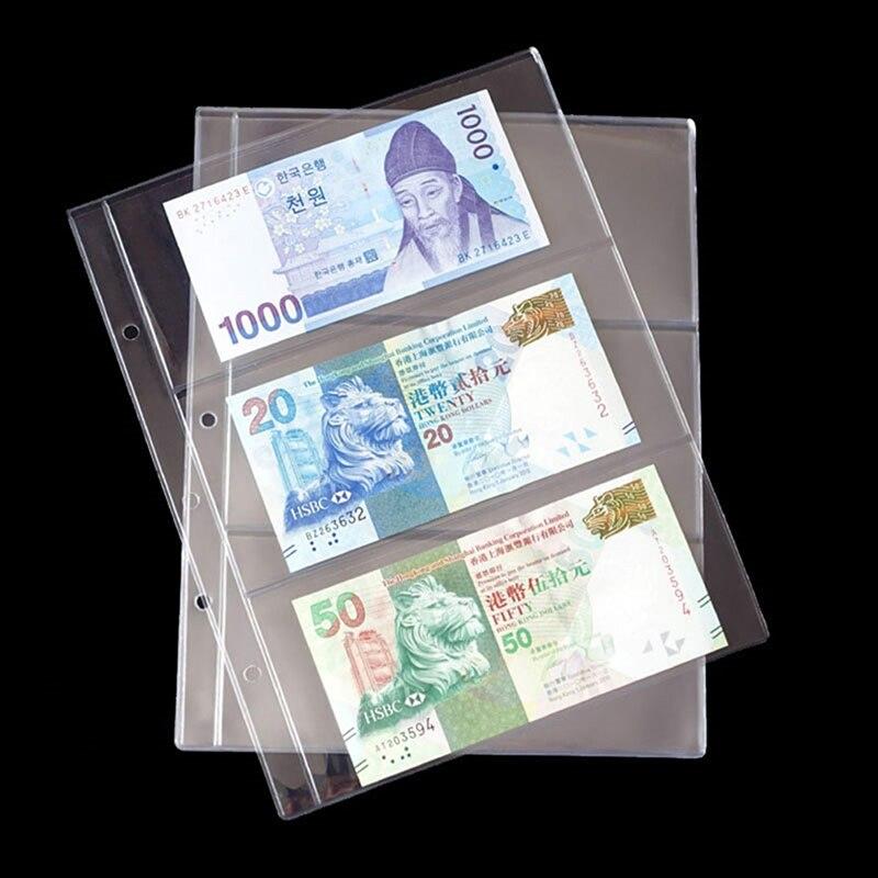 10 unids/pack de PVC transparente páginas de álbum 3 bolsillo para dinero Bill nota moneda titular colección de álbumes de carpetas