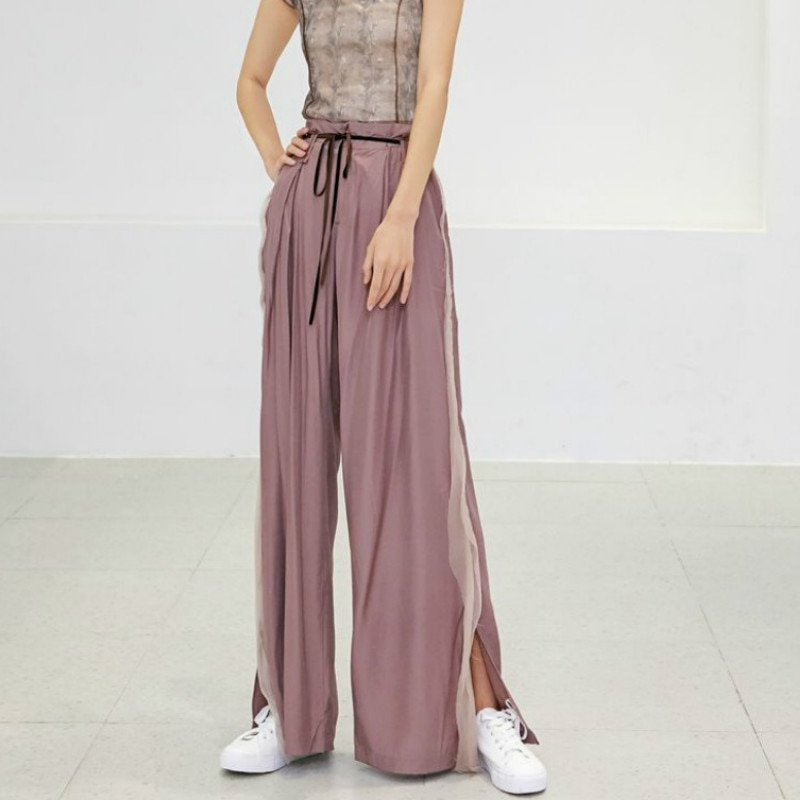 Summer Sashes Long Wide Leg Pants for Women Casual High Waist 2020 New Fashion Loose Casual  Contrast Color Trousers Femme