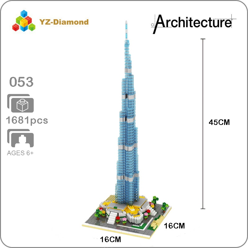 YZ 053 World Famous Architecture Burj Khalifa Tower 3D Model Mini Diamond Building Small Blocks Bricks Toy for Children no Box