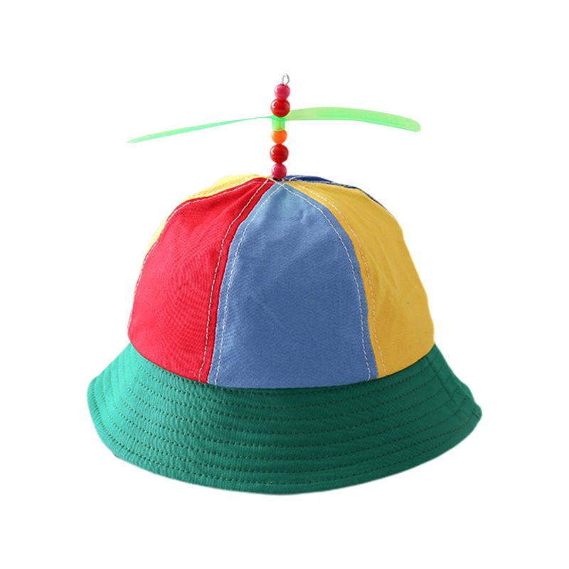 Niños, propulsor de algodón, helicóptero, gorra de cubo, bloque de Color, retales de libélula, con cuentas, protección solar de verano, sombrero de pescador