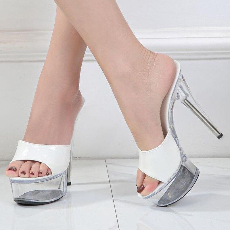 Zapatillas de tacón Sexy para mujer 14CM Mesa delgada a prueba de agua tacones altos Sexy transparente cristal zapatos de boda de talla grande 40 41 42 43