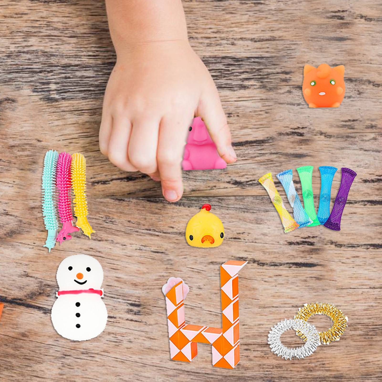 16Pcs Sensory Squeeze Toy Silicone Set Durable Portable Stress Relief Hand Toys For Kids Teens Adults enlarge