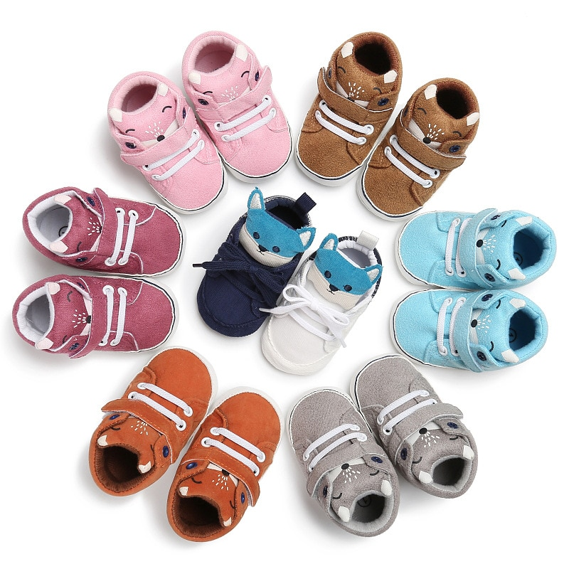 Baby animal  Autumn Shoes Kid Boy Girl Fox Head Cotton Cloth First Walker Anti-slip Soft Sole Toddler Sneaker suit for 0-1 year