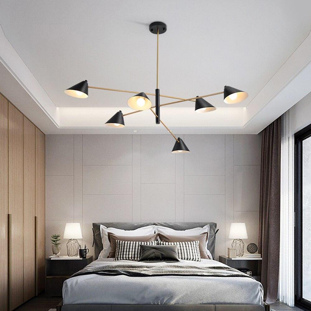 Contemporáneo brillo de Oro Negro E14 luz LED de araña para dormitorio salón comedor Oficina Personal interior decoración Vintage