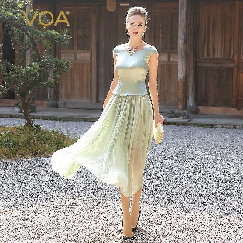 VOA Plus Size elbise Georgette Silk Long Dress Women Sweet Mint Green Tunic Summer Dresses Short Sleeve Casual vestido A5716