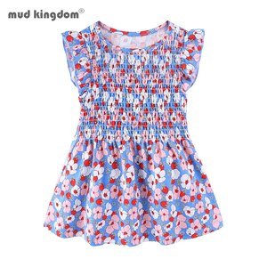 Mudkingdom Girl Dress Summer New Toddler Gilrs Dress Flying Sleeve Flower  Princess Party Dress