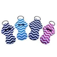 10 pcs neoprene keychain chapstick holder lip balm holder keyring colorful striped print