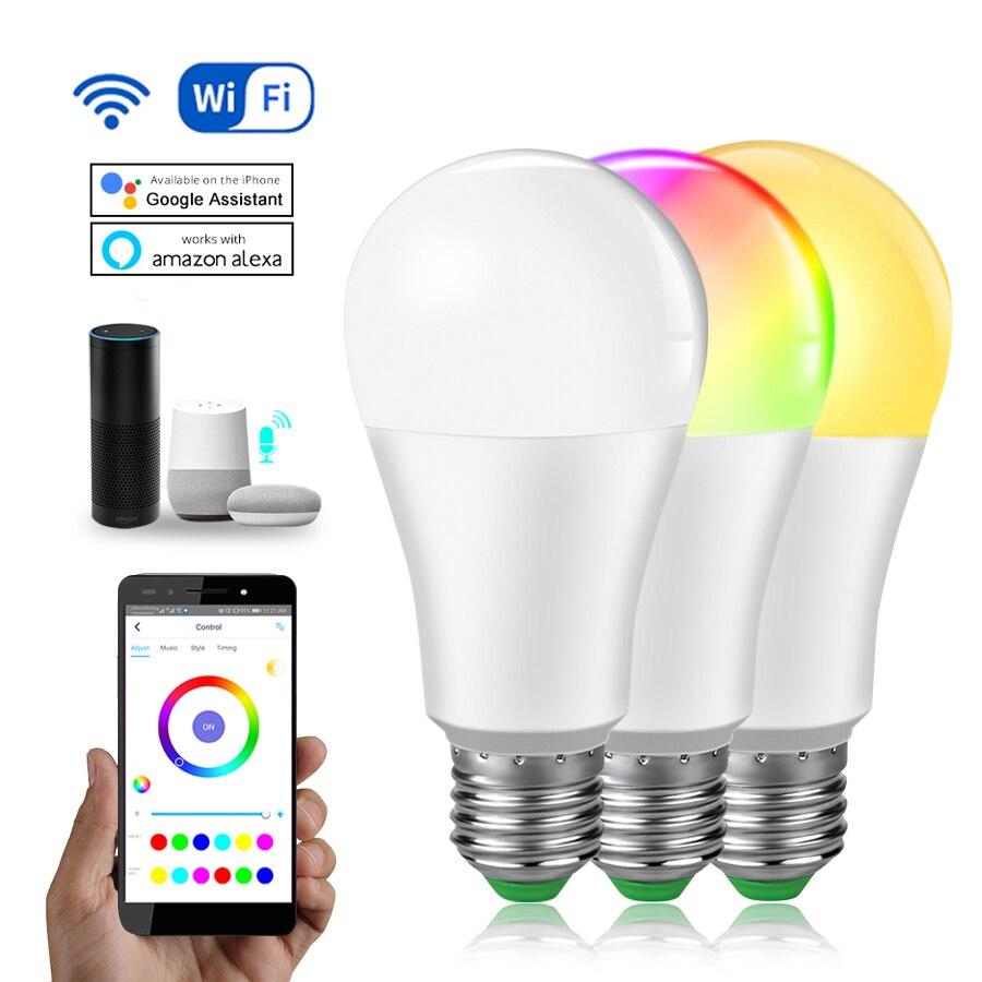 85-265V 15W Dimmable WiFi Smart Light Bulb CW WW RGB Alexa Google Assistant APP Voice Control E27 E14 B22 Bombilla Intelligent