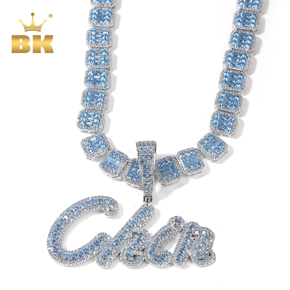 THE BLING KING Custom Brush Script Letter Two Tone Pendant Micro Paved Purple CZ NamePlate Baguette Chain Hiphop Necklace