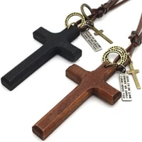 vintage black brown cross pendant necklace for men woman wood crucifix prayer christian religious necklaces male jewelry gifts