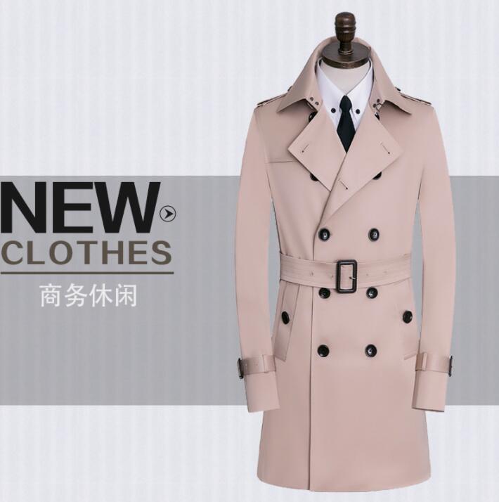 معطف واق من المطر متوسط الطول للرجال ، 9XL ، ربيع ، حزام بيج ، معطف مزدوج الصدر ، ملابس غير رسمية ، نحيف ، أكمام طويلة