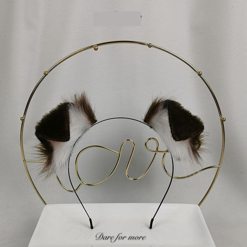 AliExpress - New Handmade Work Dark brown Dog Ears Fold Style Hairhoop Hairbands Headband Headwear Cosplay Costume Accessories