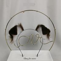 New Handmade Work Dark brown Dog Ears Fold Style Hairhoop Hairbands Headband Headwear Cosplay Costume Accessories