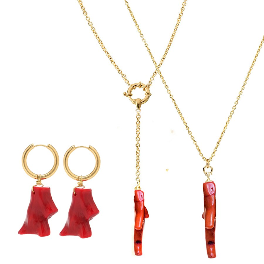 Collar de coral rojo colgantes collar de acero inoxidable oxidable para mujer joyería de acero inoxidable multi capa collar neklace