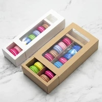 510pcs macaron package box kraft paper gift box baking biscuit packaging box with window for wedding birthday party supplies