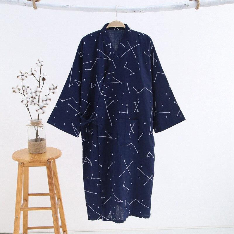 2021 Новинка Мужчины 27% 100% 25 Хлопок Марля Хлопок Халат Свободное Тонкое Юката Японское Кимоно Пижамы Мужчины 27% Капюшон Халат V-образный вырез Пижамы Халат