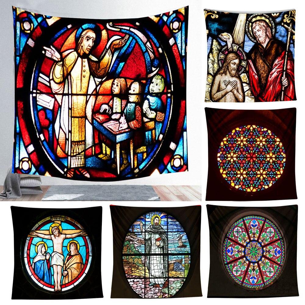 Colorido indio tapicería de la pared Mandala que cuelga Cristo Jesús tapices religión casa decoración de pared colgante cobija de oración de la cubierta de la Mesa