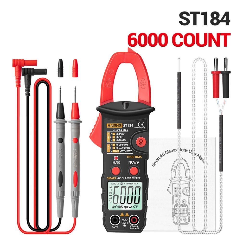 Smart Digital Clamp Meter ST184 Without Battery Digital Multimeter Clamp Meter Professional Measuring Tester vc6056a victor digital clamp meter victor 6056a