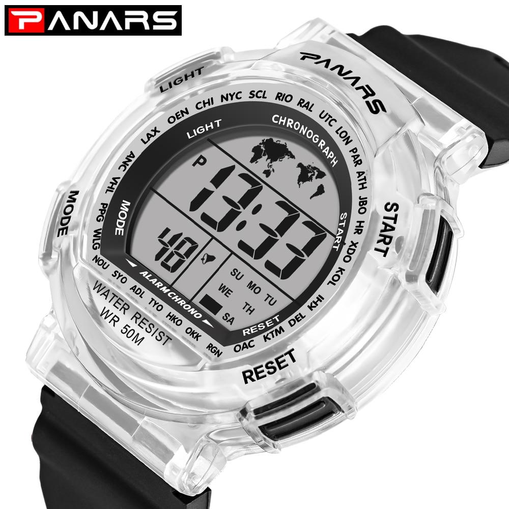 PANARS Students Watches Sports 50M Waterproof Alarm Colorful LED Watch Children Digital Watch Relojes Kids Electronic Clock