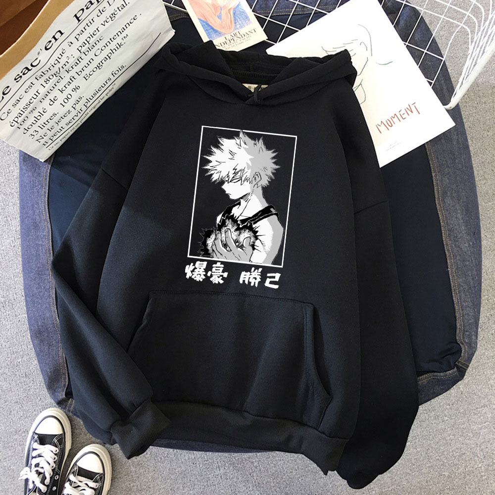 New Arrival Womens My Hero Academia Bakugo Oversized Pullover Anime Hoodie Cotton Tops Vintage Long Sleeve Round Neck Sportswear