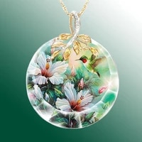 creative elegant women crystal necklace birds flower water drop pendant casual party simple necklace jewelry