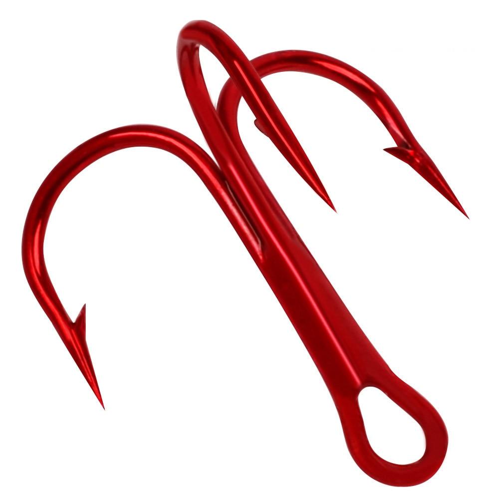 25 unids/lote, anzuelo de pesca treblado de acero al carbono con ancla roja, anzuelo de pesca de Río, tamaño 1 # ~ 10 #