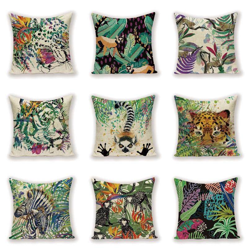 Cartoon Animal Cushion Cover Tiger Living Room Cushions Vintage Decor Throw Pillow Case Shabby Chic 45x45 Pillows Cover  Kissen